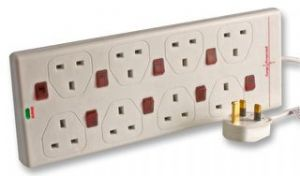 PRO ELEC 2 Metre 8 Way Surge Protected Extension Lead with Individual Neon Switches
